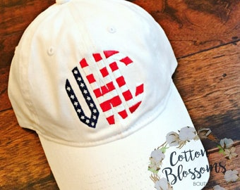 Monogrammed Flag Hat - You Customize