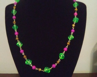 Green Dice Beaded Necklace
