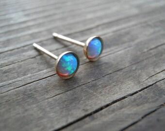 Opal Studs, classic 4mm 14k Gold Filled Studs, Blue Opal stud earrings, Gold Opal Posts, minimal earrings, October Birthstone opal jewelry