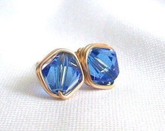 Blue Sapphire Swarovski Crystal Stud Earrings, Earrings Gold Blue, Wire Wrapped Jewelry Handmade