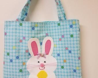 Bunny tote bag,Easter tote bag,Bunny bag,holiday bag,Easter/Spring bag,treat bag