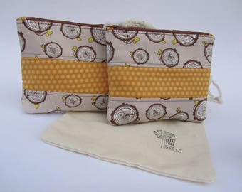 Quilted Zipper Pouch Set  Log Rolling