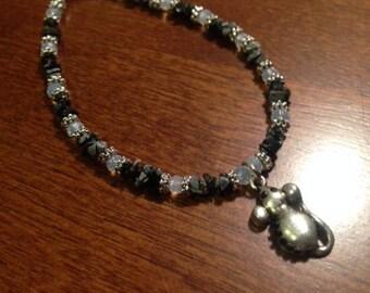 Black Dumbo Rat Charm Bracelet