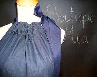 Pillowcase DRESS or TOP - Denim - Made in ANY Size - Boutique Mia