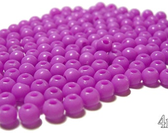 4mm Smooth Round Acrylic Beads in Orchid 200 beads