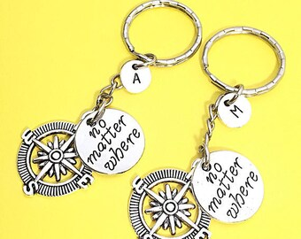 Set Of 2 Distance Keychains, Best Friend Distance Gift,BFF Charm, No Matter Where,Personalized, Initial, Friendship Gift BFF, Long Distance