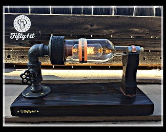 "Steampunk Table Lamp ""Basil"", Industrial Table Lamp, Reclaimed"