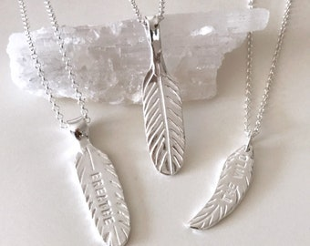Feather Necklace / Breathe Necklace / Yoga Jewelry