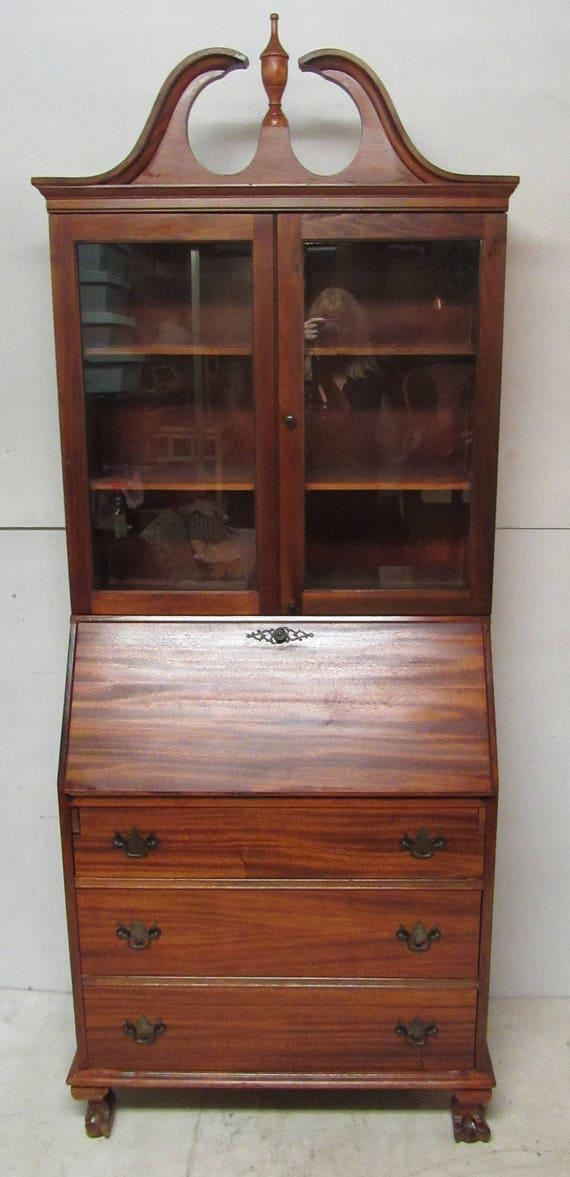 Secretary Bookcase Desk ribbon mahogany