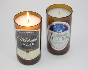 Beer Bottle Candle from Recycled Michelob Lager or Michelob Ultra Beer Bottle, Highly Scented Candle, Bar Decor Candle, Gift for Him