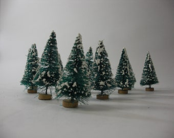 "Bottle Brush Trees, Vintage NOS,  Frosted Mini Xmas Trees, Christmas Holiday Decorating,  2 1/2"" H, PKG of 12,  FREE First Class Shipping"