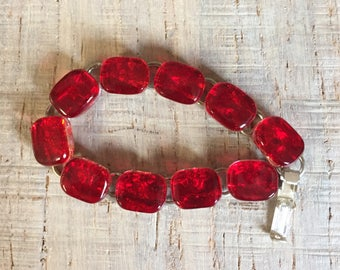 """Beautiful deep Red Ice Fused Dichroic Art Glass Jewelry Link Bracelet  7 1/2""""  FREE shipping"""