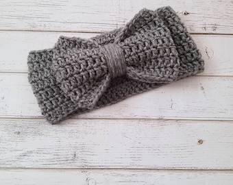 Crochet Bow Ear Warmer, Bow Headband, Crochet Bow Headwrap, Bow Headband, Bow Earwarmer, Child, Kid, Ear Warmers for Girls, READY 2 SHIP
