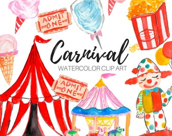 Watercolor clip art- Carnival clip art - Fair clip art - Circus clip art  - Commercial Use