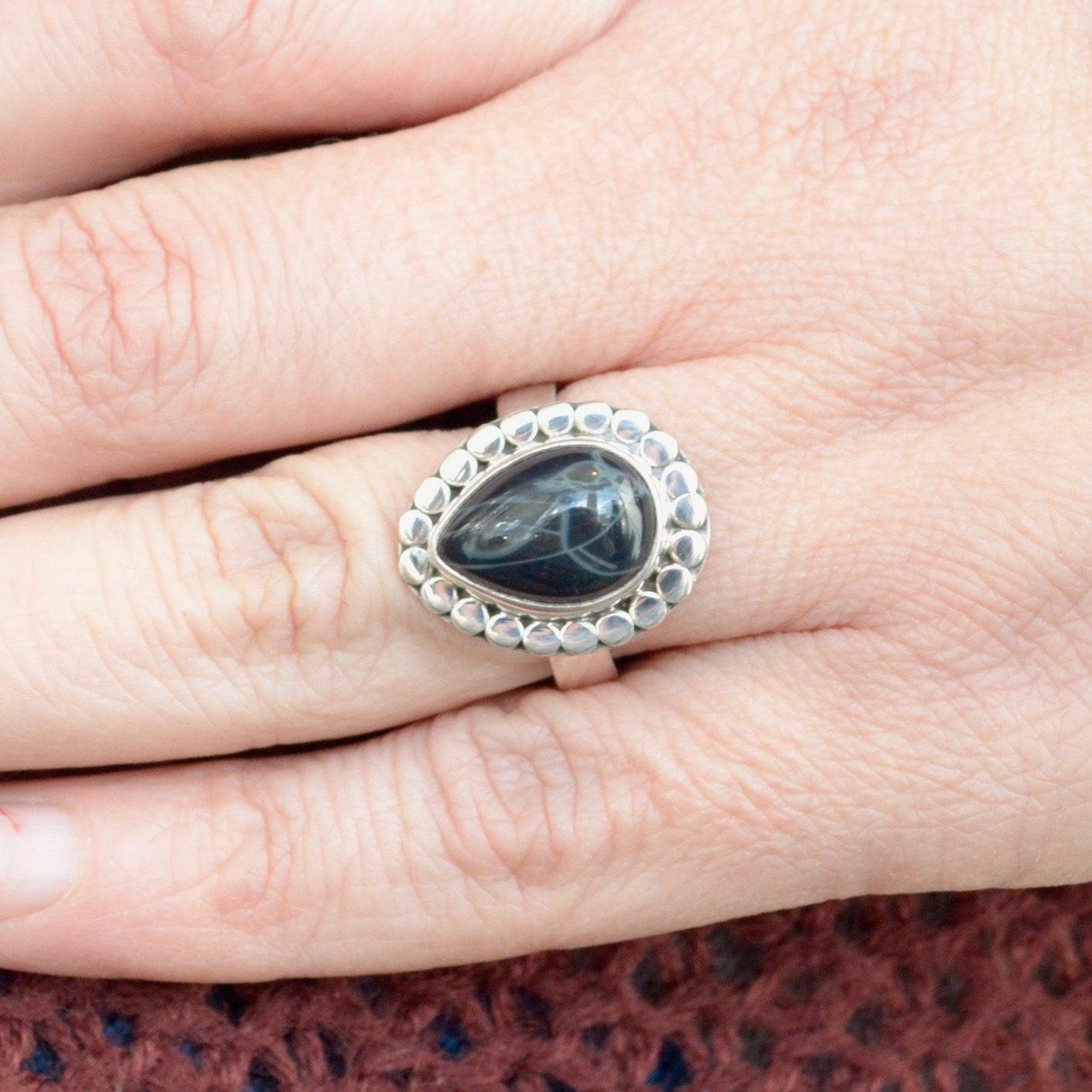 Teardrop Spiderweb Obsidian Ring // Obsidian Jewelry //