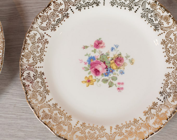 Vintage Salad Plates - Set of 8 Keystone Canonsburg Floral Plates with Warranted 22k Gold - Ornate Pink Flowers -Made in England Dinnerware