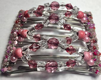 Hair Clip, Hair Comb, Barrette, Average, Hair, Pink, Crystal, Pony Tail