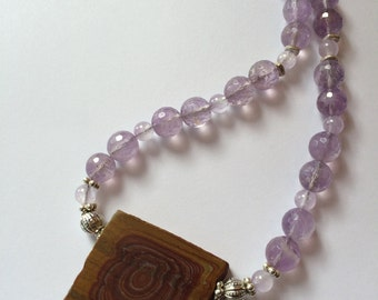 Wonderstone Necklace, Wonderstone And Amethyst Necklace, Wonderstone Pendant,