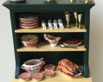 """Dollhouse Miniature Hutch Dressed for A Thanksgiving Feast 1"""" Scale"""