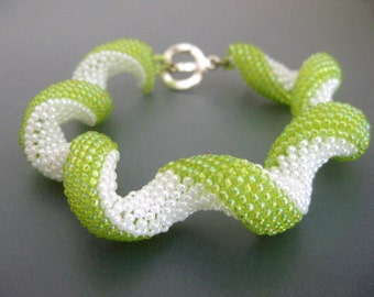 SALE / CLEARANCE / Peyote Swirl Bracelet / Beaded Bracelet in Chartreuse Green and White / Seed Bead Bracelet / Twisted Spiral Bracelet /