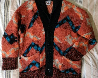 80s Jay Musson Old Man Grandma Grandpa Cardigan Sweater Southwestern Aztec Snakes Made in England