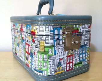 Upcycled Vintage Train Case Decoupaged with Uptown Fabric