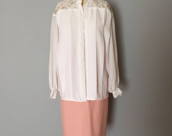 SNOW WHITE pleated blouse | gold and silver thread embroidery | pleated poet blouse