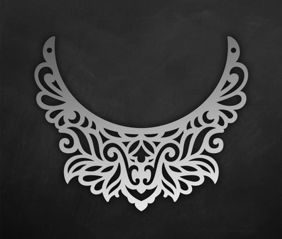 Ornamental leather Bib necklace template vector laser Cut