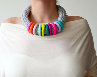 Funky necklace, hippie fashion, hippie jewelry, colorful necklace, rainbow necklace, hipster necklace, eco fashion, hipster fashion, bold