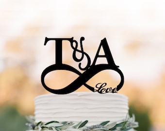 initial Wedding Cake topper with with infinity Funny wedding Cake Topper, personalized wedding cake topper with love,  unique cake topper