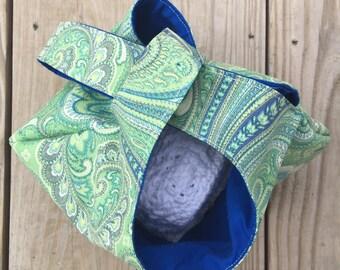 Knitting Bag, Japanese knot bag, Crochet Bag, Yarn Project, Wristlet, Green and Navy Blue Print size Medium
