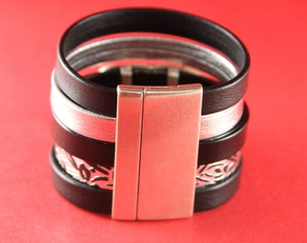 12/1 MADE in EUROPE flat cord magnetic clasp, 50mm flat cord clasp, large magnetic clasp (78933/50) qty1