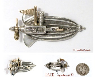 Sterling Silver Airship brooch pin with 14k gold details - It is interactive - the propeller spins! Steampunk or Sci Fi fan on your list