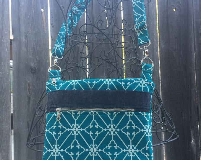 Cross Body Bag, Across The Body Bag, Teal and White Cross Body Purse, Adjustable strap, long handle purse, Travel Purse, Zippered Purse