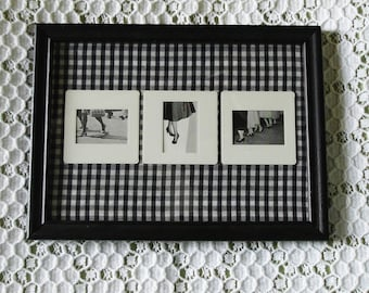 Framed Collage Art Black and White Legs Ankles Shoes Slide Gingham Fabric
