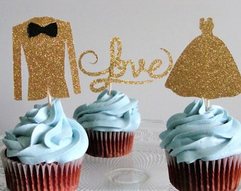 Wedding Party Decorations. Bridal Shower Decorations.Wedding Cupcake Toppers. Engagement Cupcake Toppers.Party Decorations. Gold Party Decor