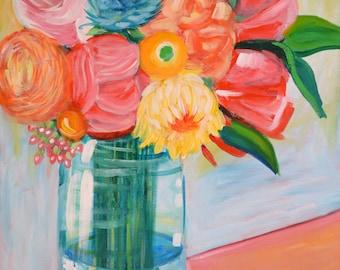 Floral Art Print, Flower Bouquet Art, Modern Art Print, Contemporary Art Print, Square Art