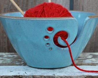 Light Blue Ceramic Yarn Bowl, Yarn Bowl, Knitting Bowl, Crochet Bowl, Light Blue Yarn Bowl, Made to Order
