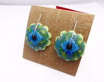 DE Lime Slushie disk earring by Marie Segal
