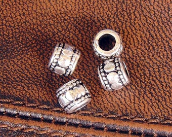 20 Tibetan metal spacers antique silver plated