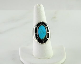 Artisan Turquoise Sterling Silver Ring Size 8.5