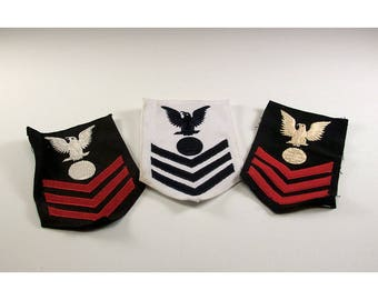 Three Vintage US Navy Electrician First Class Chevrons Two Black Background one White Background