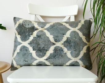 grey ikat pillow, lumbar ikat pillow, grey throw pillow, velvet ikat throw pillow, silk handwoven pillow, ikat cushion cover designer pillow