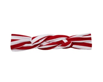 Red and White Stripe Top Knot Headband