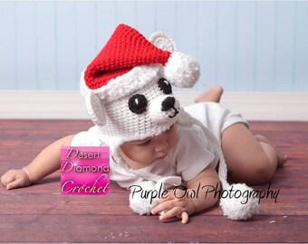Christmas Polar Bear Earflap Hat - Any Size - Any Color Combo