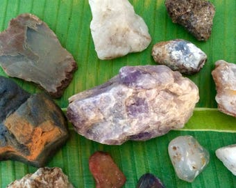 Rocks and minerals - amethyst- Rock Collection - gems - quartz crystal - 25 rock specimens - minerals - natural rocks - collectible rocks