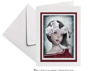 Creepy cute | Vampire portrait | Gothic art card | Blank greeting card | Hummingbird art | Frameable card | Art keepsake | Any occasion