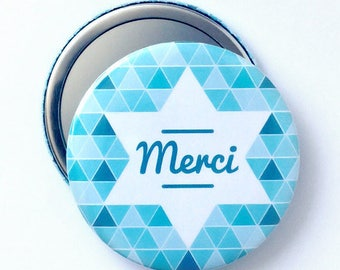 Mirror 58 mm blue geometric pattern 'Thank you' gift