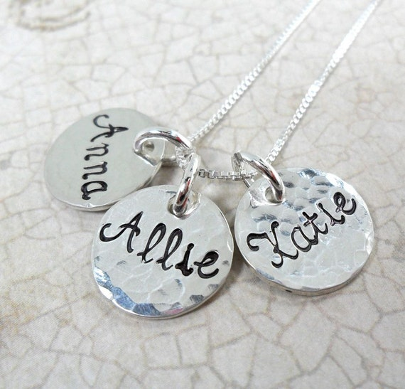 Name Necklace - Custom Mom Necklace - Personalized Mommy Necklace - Sterling Silver Discs - Script Font - Hammered Finish - Three Kids