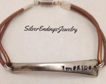 Boho Bracelet, Spoon Bracelet, Hand Stamped Bracelet, Leather Bracelet, Silverware Jewelry, Repurposed Spoon